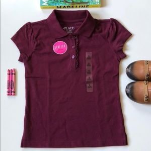 Children's Place   Burgundy Girly Polo Shirt   5/6